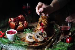 She prepares meatloaf with mushrooms and cranberry sauce royalty free stock photos