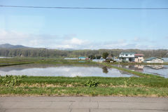 prepari la vista della linea Hokkaido di Furano al Giappone Immagini Stock