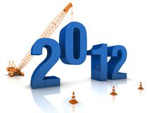 Preparing for 2012. Construction site crane building a blue 3D text. Part of a series Stock Images
