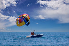 Preparing. For take-off parasailing Royalty Free Stock Photography