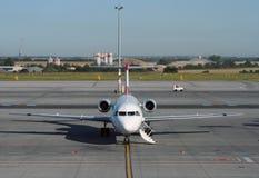 Preparing airplane for a flight. Passenger aircraft is being preparing for a flight Stock Images