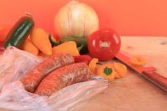 Preparing Andouille Sausage Dinner Royalty Free Stock Images