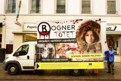 Preparing Anti-Fur Demonstration Germany Stock Photo