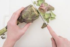 Preparing the artichoke Stock Photos