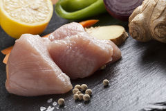 Preparing asian food cooking ingredients chicken and vegetables Stock Photography