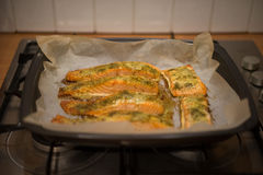 Preparing baked fish in a roasting pan Stock Photos