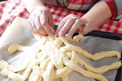 Preparing baking basket from dough Royalty Free Stock Photo