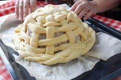 Preparing baking basket from dough Stock Image