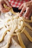 Preparing baking basket from dough Royalty Free Stock Photos