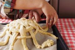 Preparing baking basket from dough Royalty Free Stock Photography