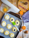 Preparing for baking. Delicious buns Stock Photography