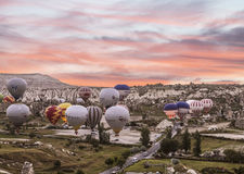Preparing the balloon for flight at sunrise in Cappadocia. Turkey Stock Photography
