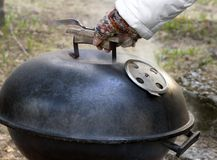 Preparing barbecue. Preparing for barbecue - meat roasting Stock Photography
