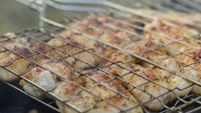 Preparing barbecue chicken, slide stock video