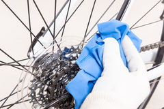 Preparing bicycle for a new season Stock Photos
