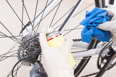 Preparing bicycle for a new season Royalty Free Stock Photography