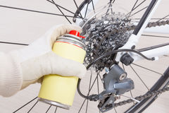 Preparing bicycle for a new season Stock Image
