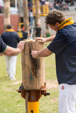 Preparing the blocks at the Royal Adelaide Show, September 2014. Royalty Free Stock Images