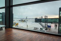 Preparing for boarding to Ryanair plane royalty free stock photography