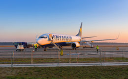 Preparing for boarding to Ryanair plane Royalty Free Stock Image
