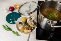 Preparing and boiling fish soup royalty free stock photography