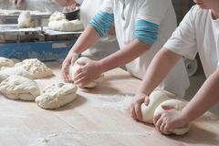 Preparing bread. Woman bakery team at work mixing dough royalty free stock photography