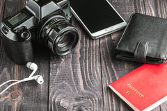 Preparing for business trip concept. Flat lay Royalty Free Stock Images