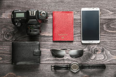 Preparing for business trip concept. Flat lay Royalty Free Stock Photography