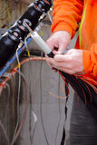 Preparing Cables for Underground Hydro Distribution Stock Image