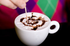 Preparing cappuccino Stock Photography