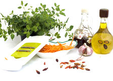 Preparing carrot salad Stock Image