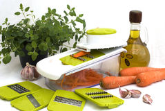 Preparing carrot salad Stock Photo