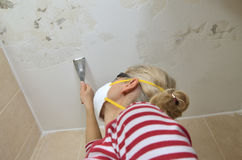 Preparing Ceiling for Smoothing Royalty Free Stock Image