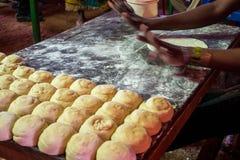 Preparing chapati in simple environment. Preparing chapati in simple restaurant in Kenya, East Africa Stock Photos
