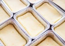 Preparing cheese base square cake Stock Image