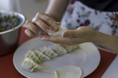 Preparing Chinese Dumplings 5. A close up of a Chinese ladies hands as she prepares traditional, handmade Chinese Dumplings using fresh ingredients stock image