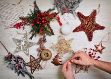 Preparing the Christmas decoration. Royalty Free Stock Photo