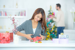Preparing for Christmas eve Royalty Free Stock Photos