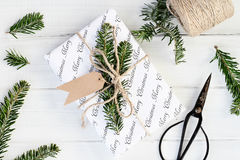 Preparing Christmas Gift with Blank Tags Stock Photos