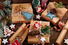 Preparing christmas gifts in rustic style Royalty Free Stock Photos