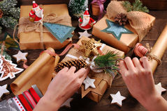 Preparing christmas gifts in rustic style Stock Photography