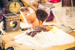Preparing Christmas iced gingerbread dough Ingredients recipe ki Stock Image