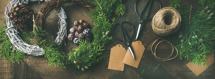 Preparing for Christmas, New Year. Flat-lay of holiday decorations Royalty Free Stock Photo
