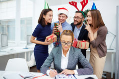 Preparing Christmas surprise Stock Photo
