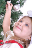Preparing a Christmas tree Stock Images