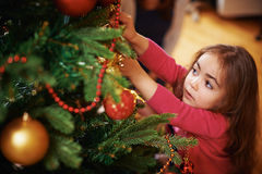 Preparing Christmas tree Royalty Free Stock Image