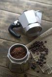 Preparing coffee with italian coffee maker Stock Photography