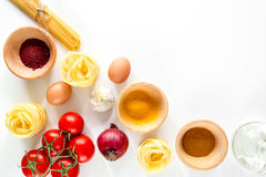 Preparing for cooking italian pasta white background top view copyspace Royalty Free Stock Photos