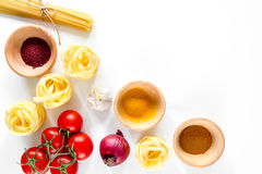 Preparing for cooking italian pasta white background top view copyspace Royalty Free Stock Images