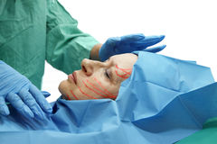 Preparing for cosmetic surgery Stock Images
